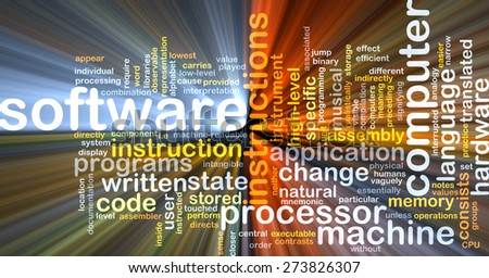 Background concept wordcloud illustration of software glowing light - stock photo