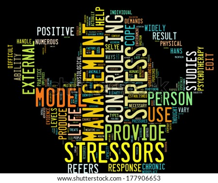 Background concept wordcloud illustration of stress management - stock photo