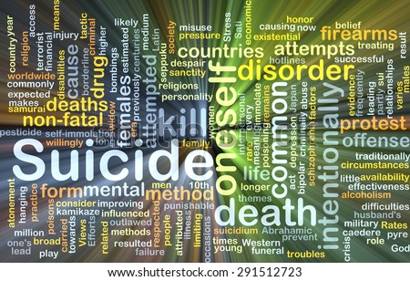 Background concept wordcloud illustration of suicide glowing light - stock photo