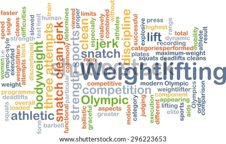 Background concept wordcloud illustration of weightlifting - stock photo