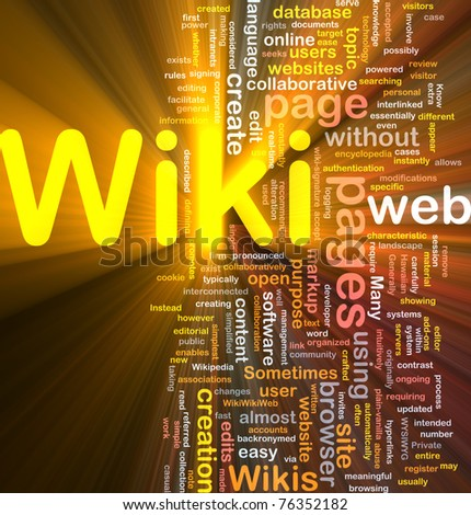 Background concept wordcloud illustration of wiki glowing light - stock photo