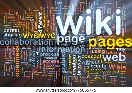 Background concept wordcloud illustration of wiki pages glowing light - stock photo