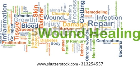 Background concept wordcloud illustration of wound healing - stock photo