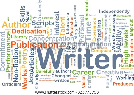 Background concept wordcloud illustration of writer - stock photo