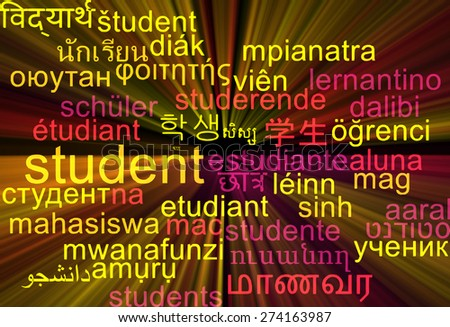 Background concept wordcloud multilanguage international many language illustration of student glowing light - stock photo