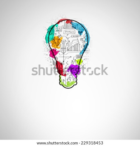 Background conceptual image of light bulb and business sketches - stock photo