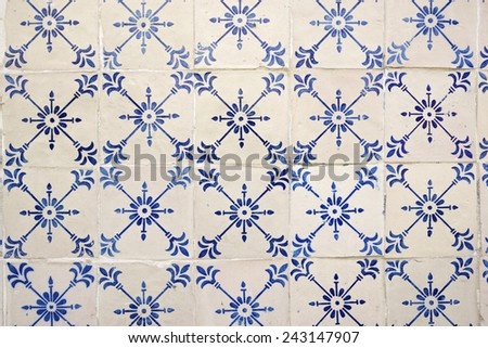 Background created by a tiled wall, Lisbon, Portugal. - stock photo