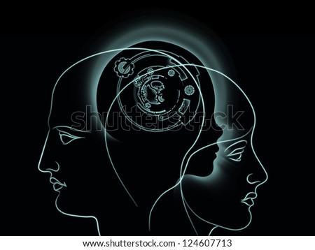 Background design of clock gears, numbers and human head outline on the subject of consciousness, artificial intelligence and technology - stock photo