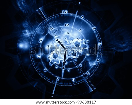 Background design of clock hands, gears, lights and numbers on the subject of time sensitive issues, deadlines, scheduling, temporal processes, digital technologies, past, present and future - stock photo