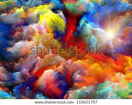 Background design of dreamy forms and colors on the subject of dream, imagination, fantasy and abstract art Realms of Dream - stock photo