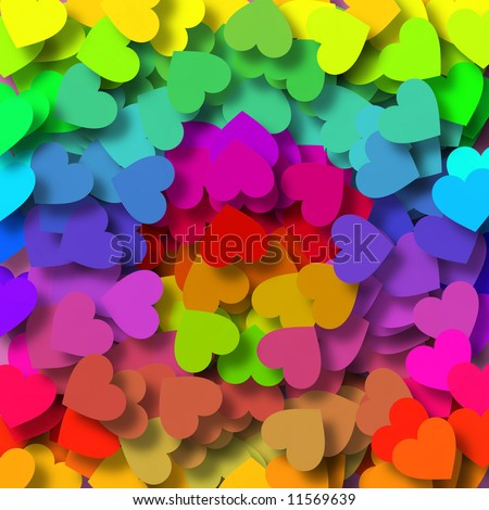 Background design with lots of little hearts in bright green, orange, yellow, red, purple, pink and blue - stock photo