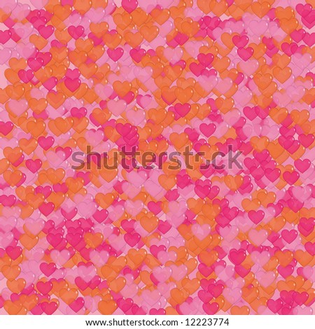 Background design with lots of orange and pink shiny, transparent hearts - stock photo