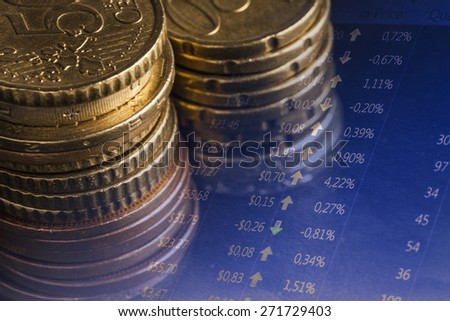 Background. Euro coins and us dollar banknote background. Finance concept. - stock photo