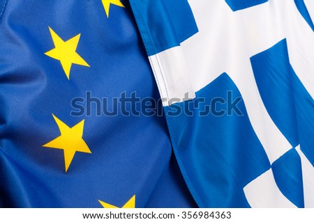 Background - Flags of European Union and Greece - stock photo