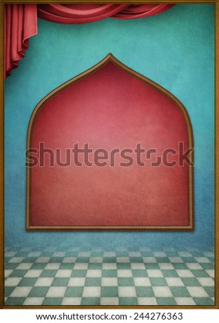 Background for  card or poster with  window and curtains - stock photo