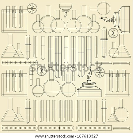 Background for chemistry. Pattern with contour of chemical on light background. - stock photo