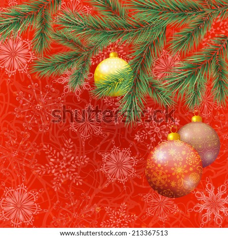 Background for Christmas holiday design, spruce branches, balls and snowflakes - stock photo