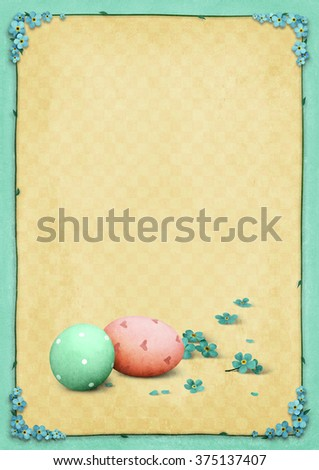 Background for Easter card with egg decoration and blue flowers - stock photo