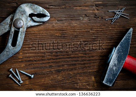 background for fathers day with tools - stock photo