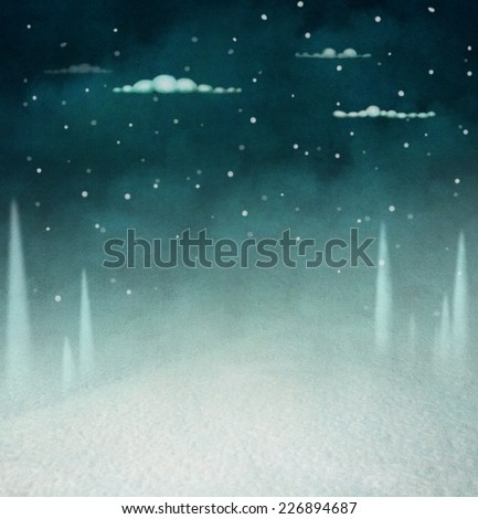 Background for greeting card with night winter landscape - stock photo