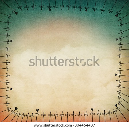 Background for illustration or postcard with iron frame - stock photo