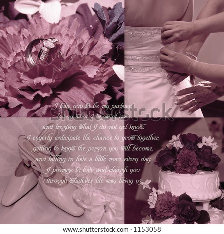 Background for scrapbooks with wedding vows and four wedding images. - stock photo