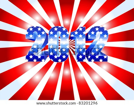 Background for the American 2012 presidential election with red ans white sunburst and numbers in blue with stars as the USA flag. - stock photo