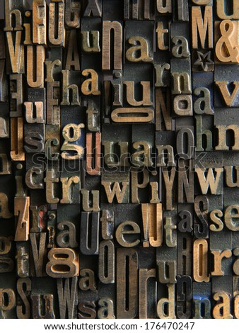 Background formed with vintage wooden letter cases - stock photo