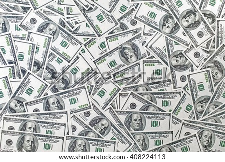 Background from a variety of one hundred dollar bills. Many dollars. Money background. Fake money. - stock photo
