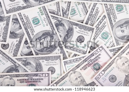 background from banknotes of dollars close-up - stock photo