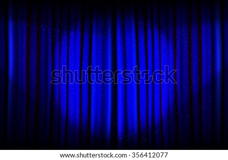 Background from blue curtain with beams of light - illustration - stock photo