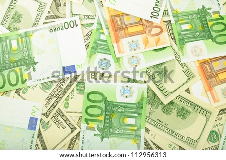 Background from dollar and euro different banknotes - stock photo