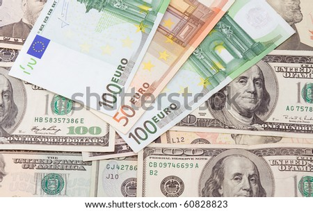 background from dollars and euros banknotes - stock photo