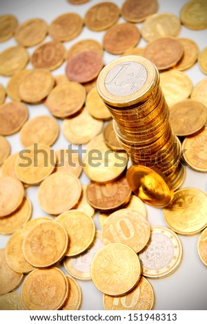 Background from gold coins. - stock photo