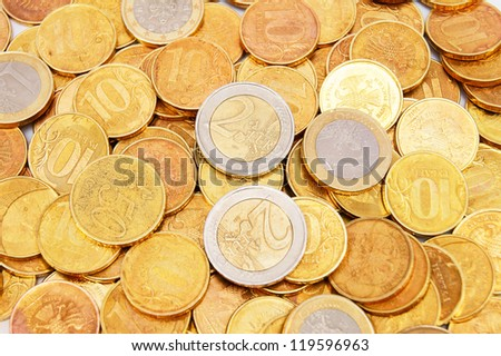 Background from gold coins. Many gold coins - stock photo