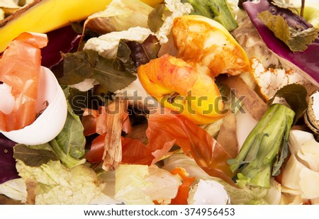 Background from household and food waste and various debris - stock photo