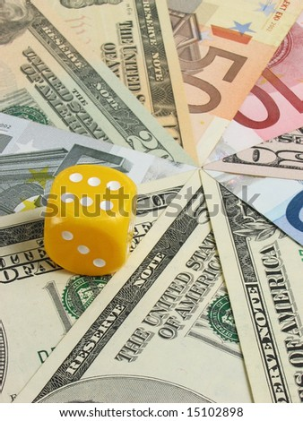 Background from money and die - stock photo