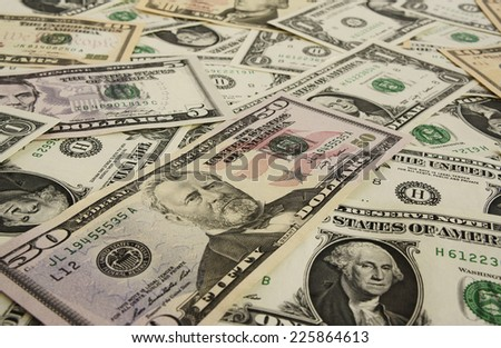Background from money?? 1, 5, 10, 50 dollars                             - stock photo