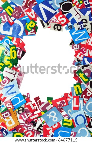 Background from newspaper letters - stock photo