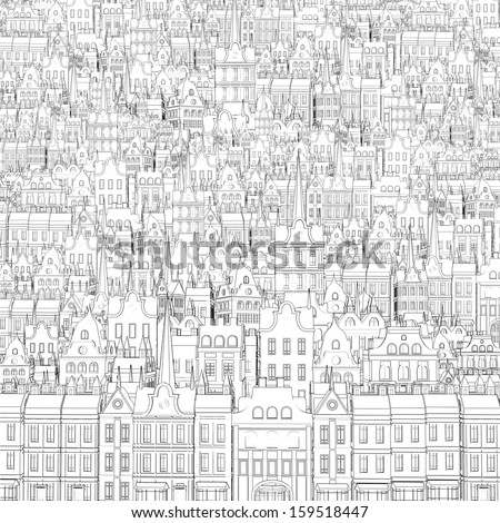 Background from the drawn outline of buildings - stock photo