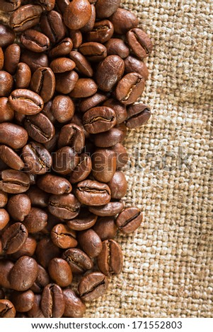 background from the fried coffee beans - stock photo