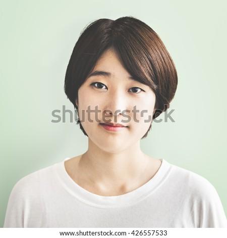 Background Girl Adolescence Calm Casual Leisure Concept - stock photo