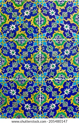 background Handmade Tile in Topkapi Palace in Istanbul - stock photo