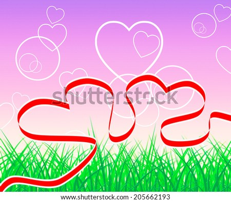 Background Hearts Representing Valentine Day And Template - stock photo