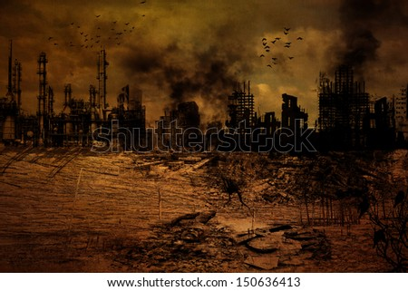 Background Illustration of a destroyed city - stock photo