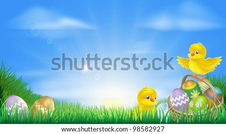 Background illustration of happy yellow Easter chicks and Easter eggs in a field - stock photo