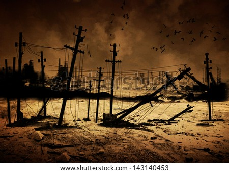 Background image of a destroyed city - stock photo