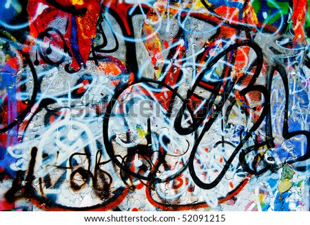 background image of a urban grafitti wall - stock photo