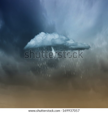 Background image of cloudy sky with lightning and rain - stock photo
