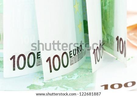 Background image of Euro banknotes - stock photo